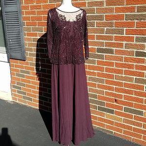 Pizarro nights purple plum beaded gown broken zipp